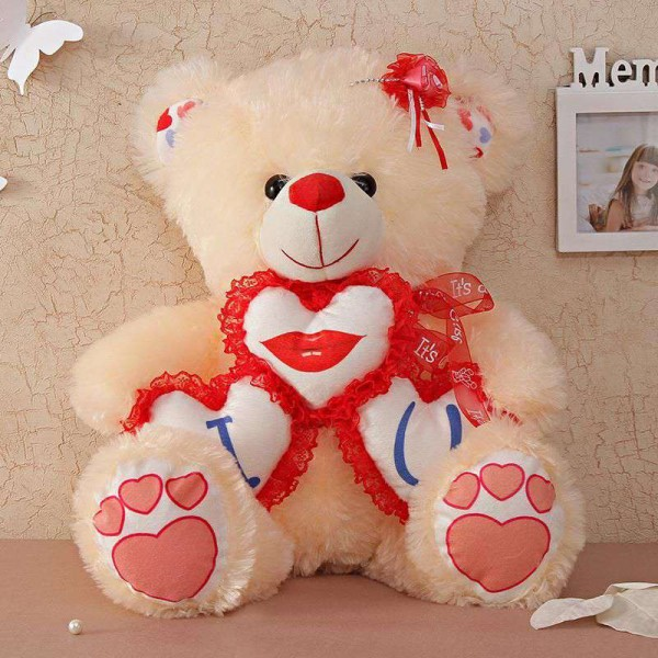Cute 18 Inch Peach Teddy Bear holding triple I Lips You Heart
