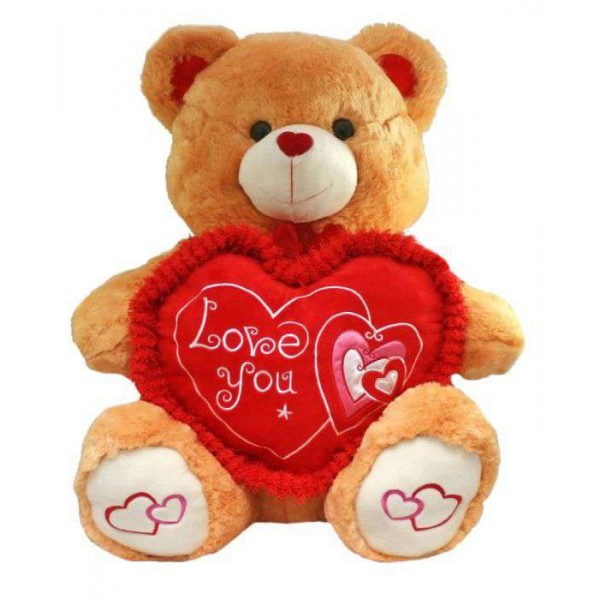 Golden Brown 2.5 Feet Sitting Love You Heart Teddy Bear