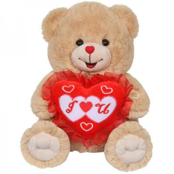 15 Inch Camel Brown Teddy Bear holding I Love You Heart