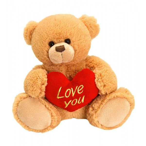 15 Inch Golden Teddy Bear holding Love You Heart