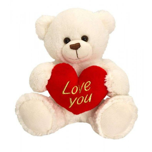 Big 15 Inch White Teddy Bear holding Love You Heart