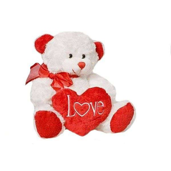 Cute 15 Inch White Teddy Bear holding LOVE Heart