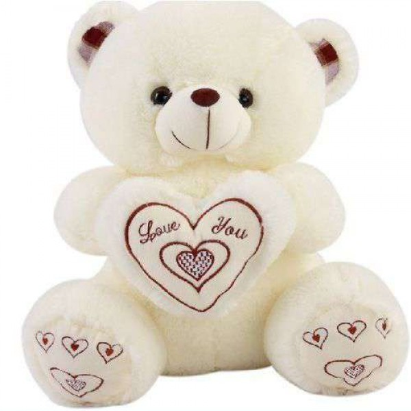 Cute 18 Inch White Teddy Bear holding Love You Heart