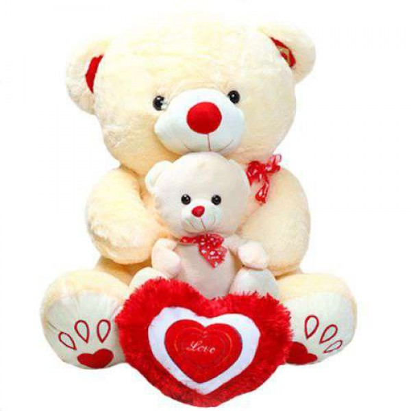 Cute Peach Mother Baby Love Teddy Bear