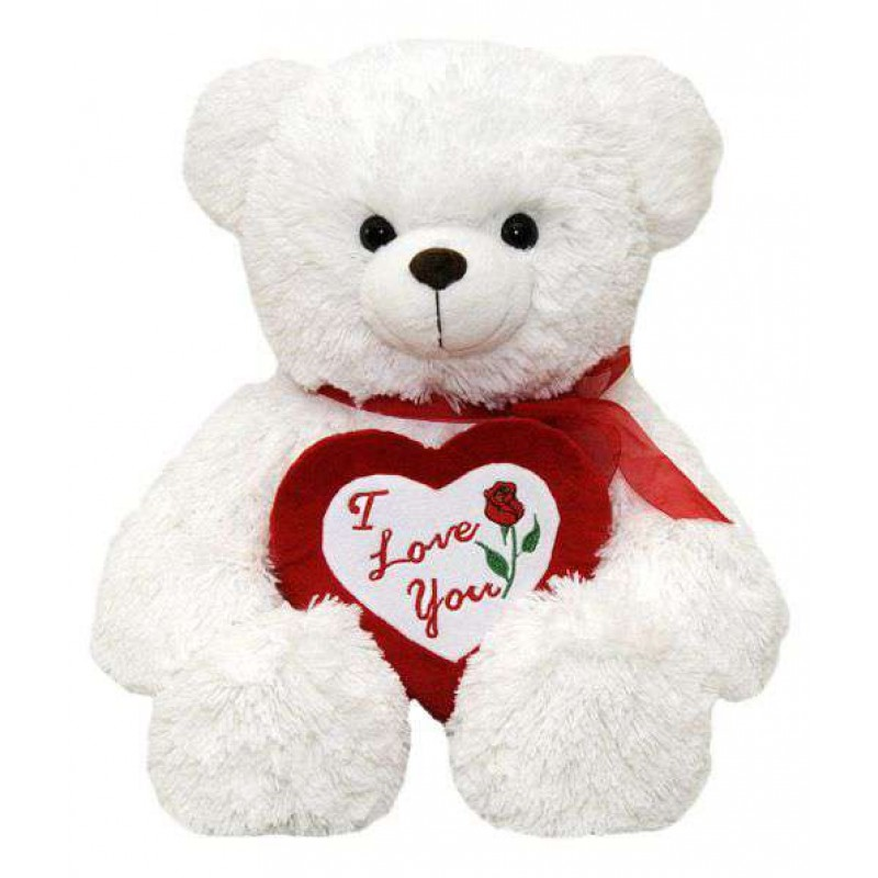 Buy White Teddy Bear holding red I Love You Heart Online at Lowest Price in India | GRABADEAL