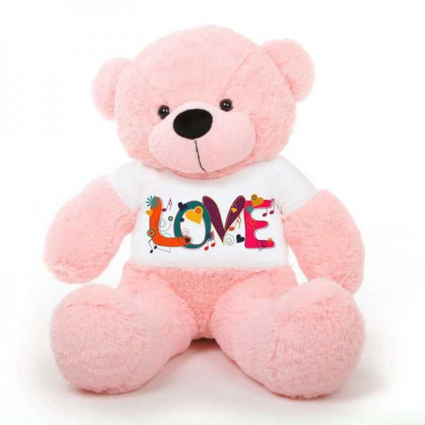 Pink 5 feet Big Teddy Bear wearing a Beautiful Love Design T-shirt