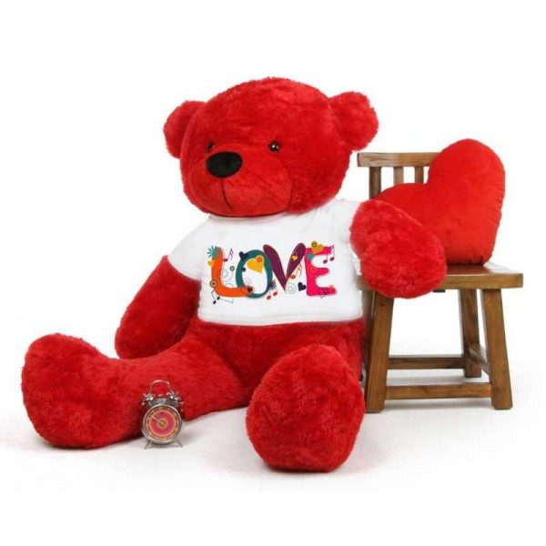Red 5 feet Big Teddy Bear wearing a Beautiful Love Design T-shirt