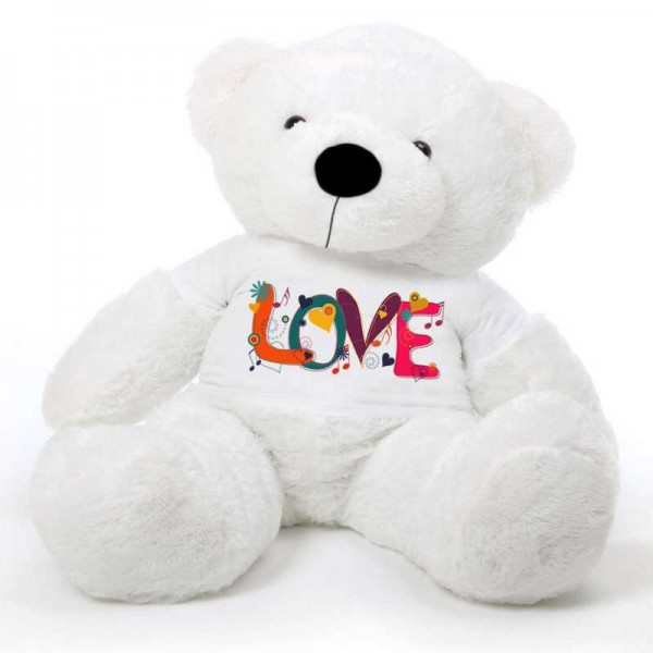 White 5 feet Big Teddy Bear wearing a Beautiful Love Design T-shirt