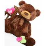 Dark Brown 5 Feet Big Teddy Bear with Muffler