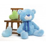 Blue 5 Feet Big Teddy Bear with Muffler