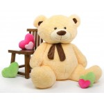Cream 5 Feet Big Teddy Bear with Muffler