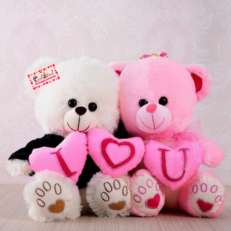 Buy grabadeal couple teddy bear holding i love you heart online at grabadeal couple teddy bear holding i love you heart white and pink 30 altavistaventures Choice Image