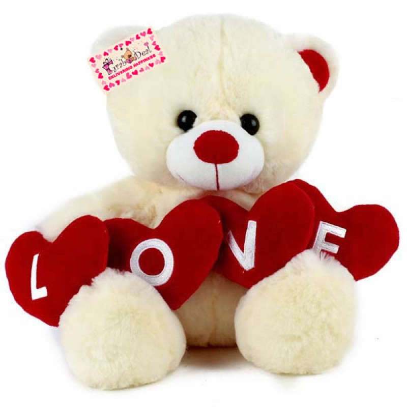Buy Grabadeal LOVE Teddy Bear Valentine Gift Cream 40 cm Online at Lowest Price in India | GRABADEAL