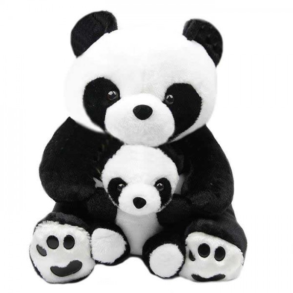 Cute Black and White Mumma Baby Panda Plush Animal Soft Toy Teddy Bear