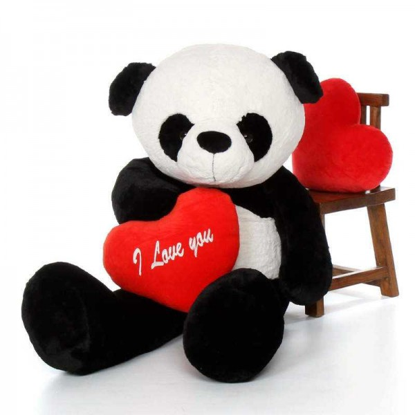 Giant 5 Feet Mei Panda Teddy Bear Soft Toy with Big I Love You Heart