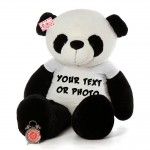 Giant Personalized Panda Teddy Bear Soft Toy wearing Customized Photo and Message Tshirt
