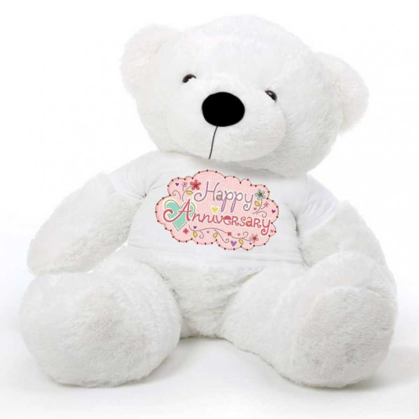 White 5 feet Big Teddy Bear wearing a Happy Anniversary T-shirt