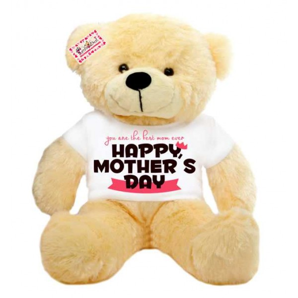 2 feet big peach teddy bear wearing You are the best mom ever Happy Mothers Day T-shirt