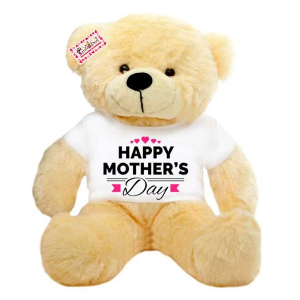 2 feet big peach teddy bear wearing Happy Mothers Day hearts T-shirt