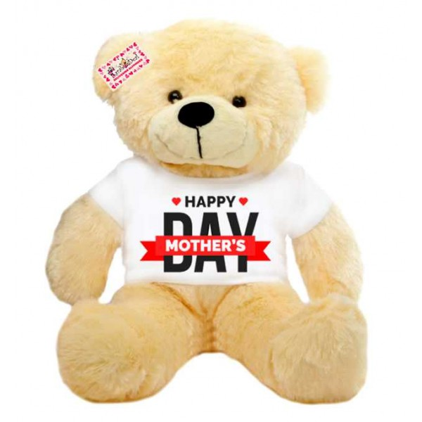 2 feet peach teddy bear wearing Happy Mothers Day T-shirt