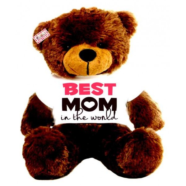 2 feet big brown teddy bear wearing Best Mom in the world T-shirt