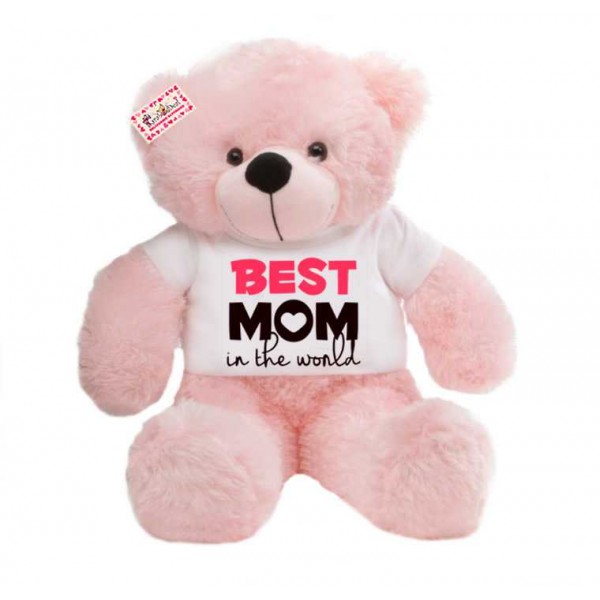 2 feet big pink teddy bear wearing Best Mom in the world T-shirt