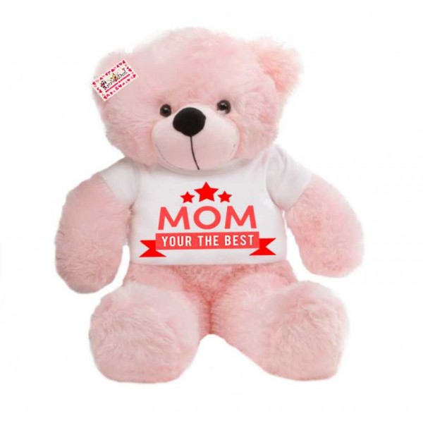 2 feet pink teddy bear wearing MOM Your the best T-shirt