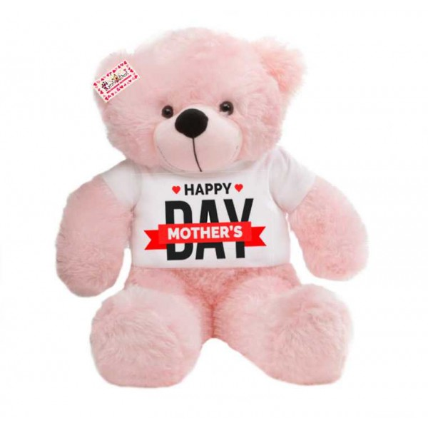 2 feet pink teddy bear wearing Happy Mothers Day T-shirt
