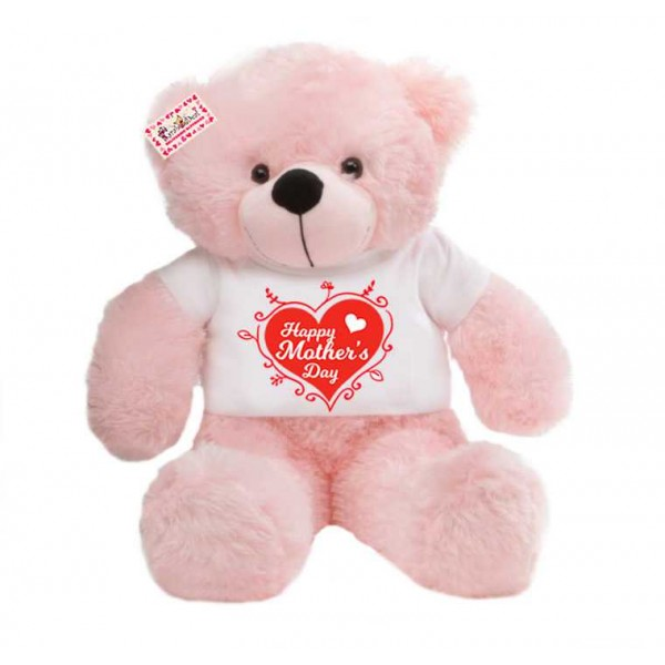 2 feet big pink teddy bear wearing Happy Mothers Day designer heart T-shirt