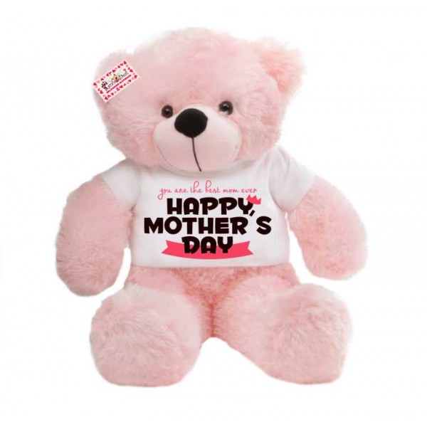 2 feet big pink teddy bear wearing You are the best mom ever Happy Mothers Day T-shirt