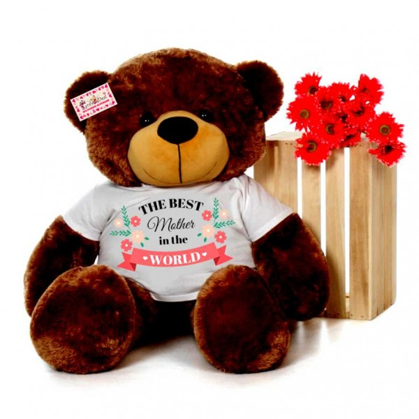 4 feet brown teddy bear wearing The Best Mother in the world T-shirt