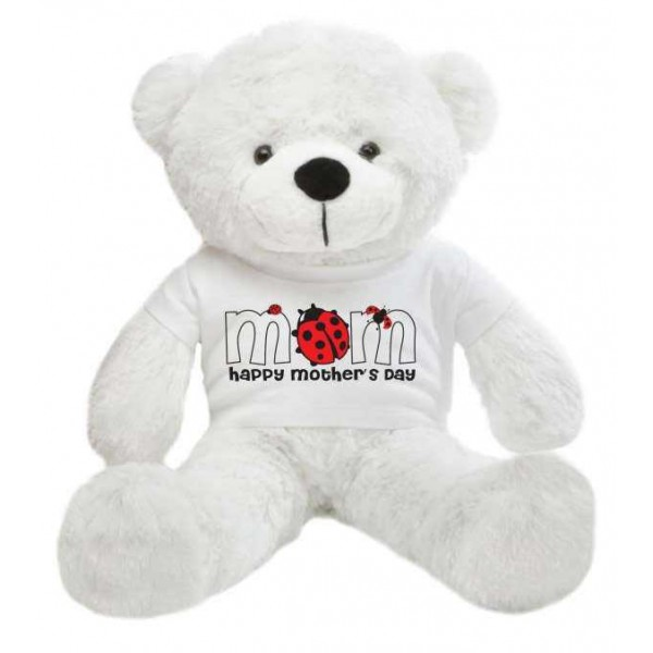 2 feet big white teddy bear wearing a Mother's Day T-shirt