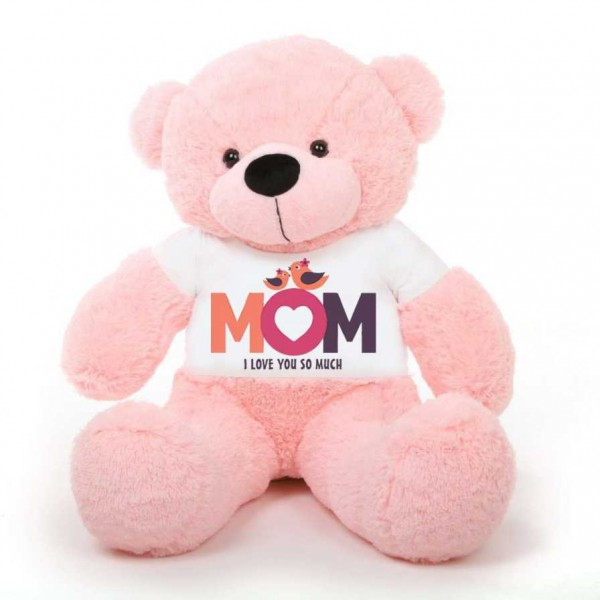 Pink 5 feet Big Teddy Bear wearing a Mom I Love You So Much T-shirt