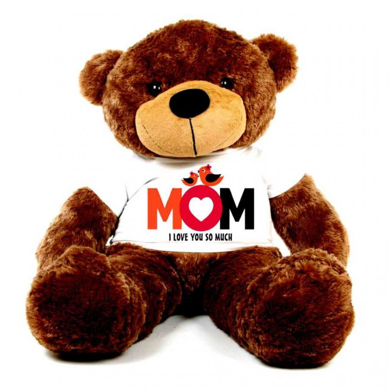 320a9bbbaff Buy Brown 5 feet Big Teddy Bear wearing a Mom I Love You So Much T-shirt  Online at Lowest Price in India