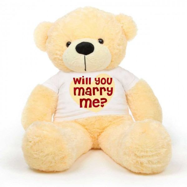 Peach 5 feet Big Teddy Bear wearing a Will You Marry Me T-shirt