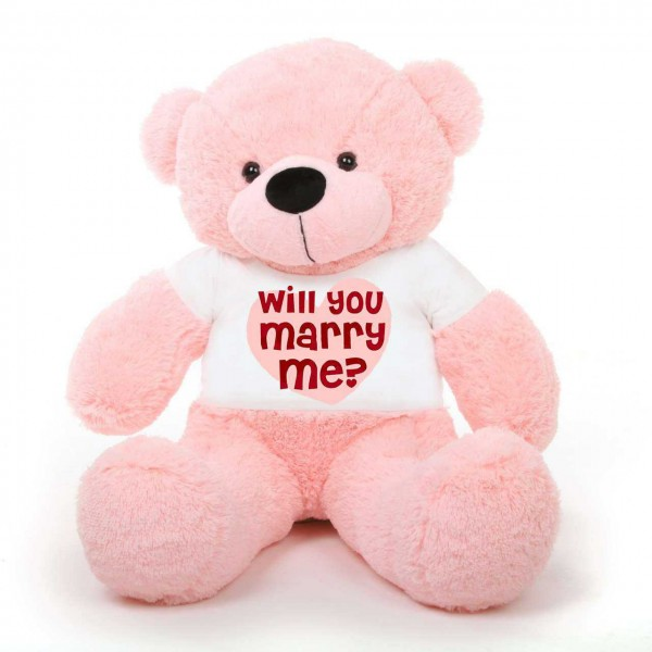 Pink 5 feet Big Teddy Bear wearing a Will You Marry Me T-shirt