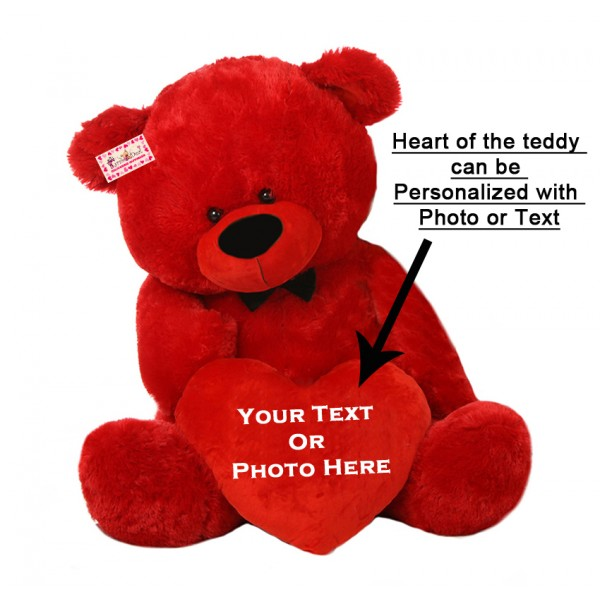 Personalized Red Teddy Bear Soft Toy with Customized Red Heart