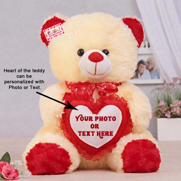 Personalized Peach Teddy Bear Soft Toy with Customized Red Frill Heart