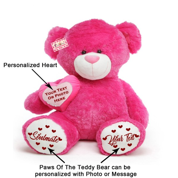 Giant Dark Pink Teddy Bear Soft Toy with Personalized Side Heart and Paws