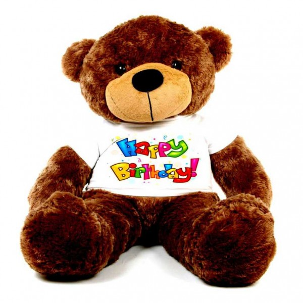 Brown 5 feet Big Teddy Bear wearing a colorful Happy Birthday T-shirt