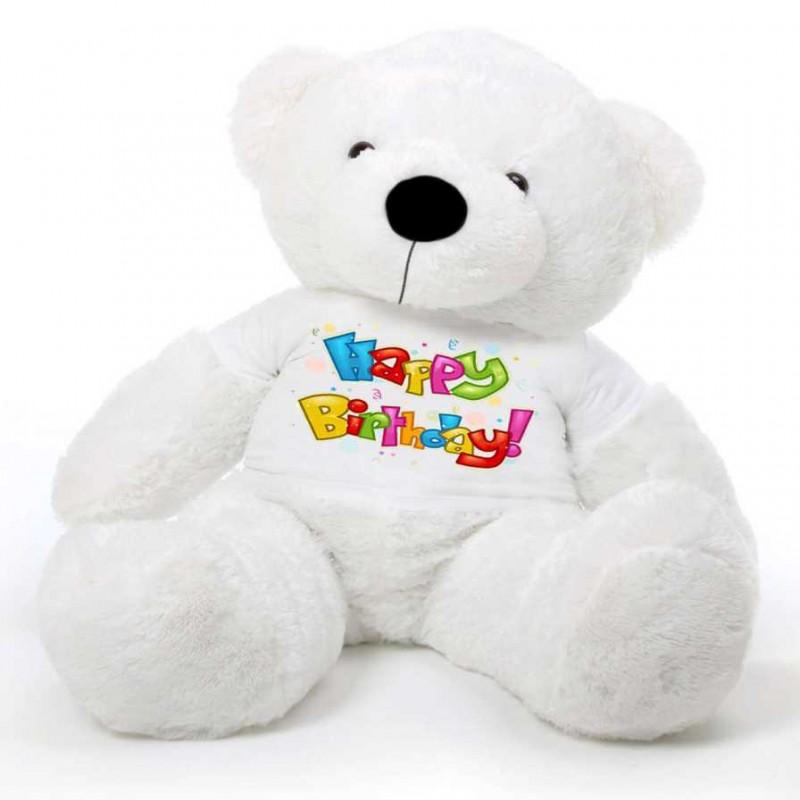 Buy White 5 Feet Big Teddy Bear Wearing A Happy Birthday T