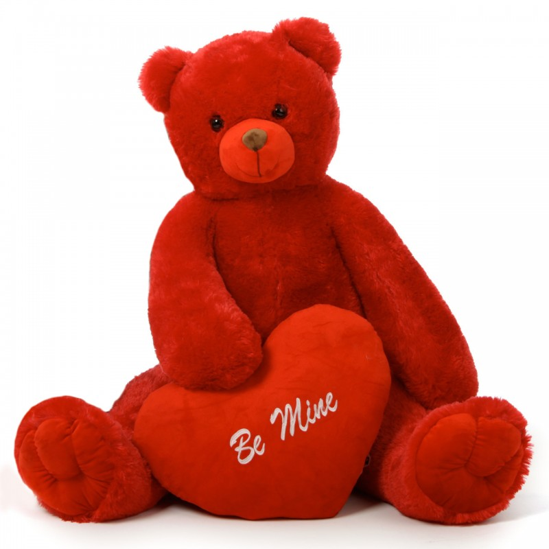 Red Teddy Bear 5 Feet, Buy Huge Red 5 Feet Bigfoot Teddy Bear With A Red Be Mine Heart Online At Lowest Price In India Grabadeal