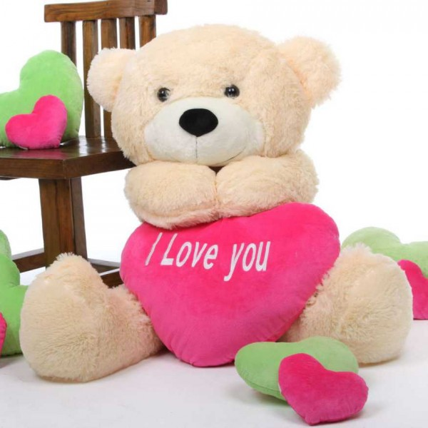 3.5 feet big cream teddy bear with pink I Love You Heart
