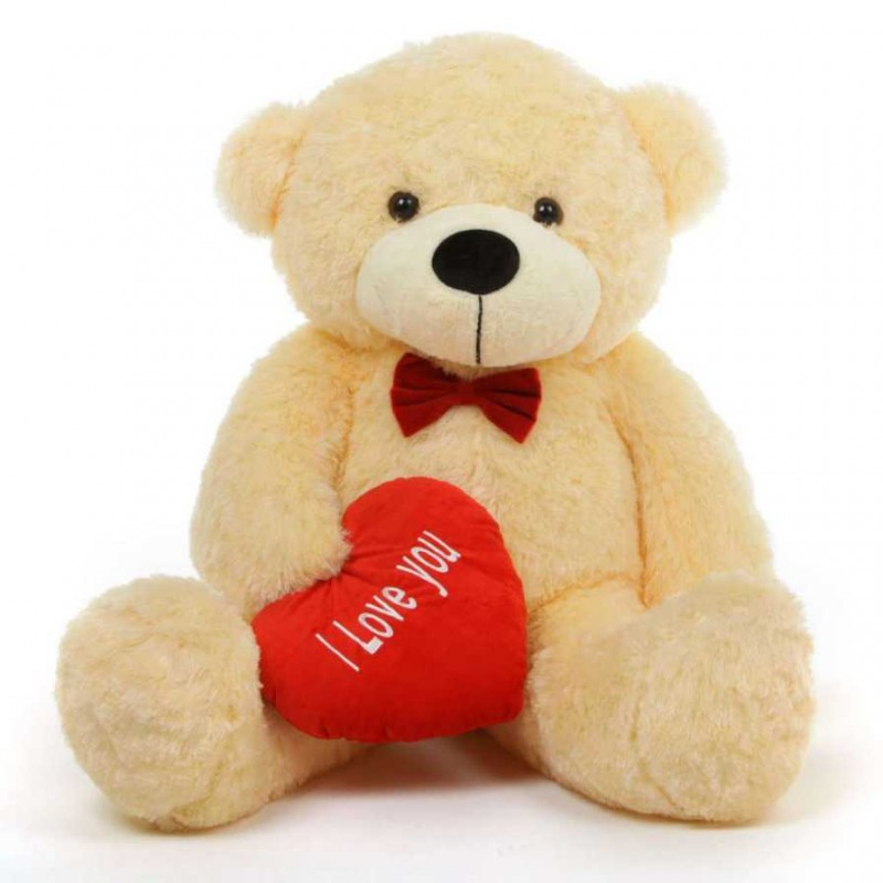 e6a07810a74 Buy 3.5 feet big light brown teddy bear with red I Love You Heart Online at Lowest  Price in India