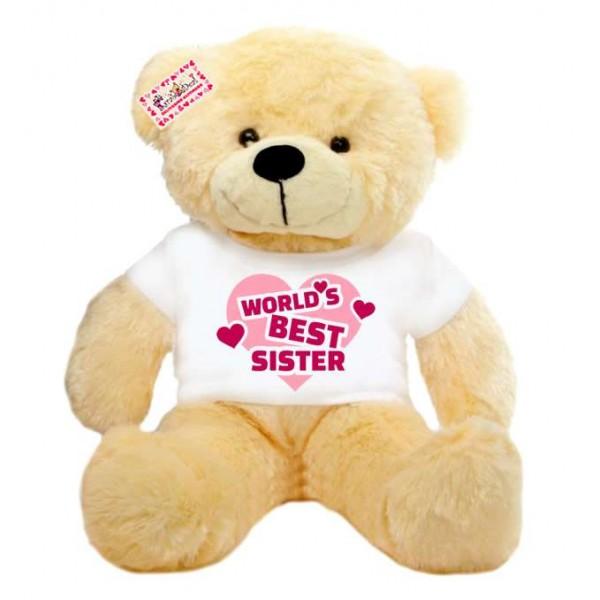 2 feet big peach teddy bear wearing Worlds Best Sister T-shirt
