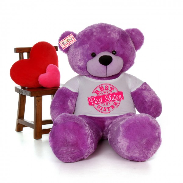5 feet big purple teddy bear wearing Best Sister T-shirt