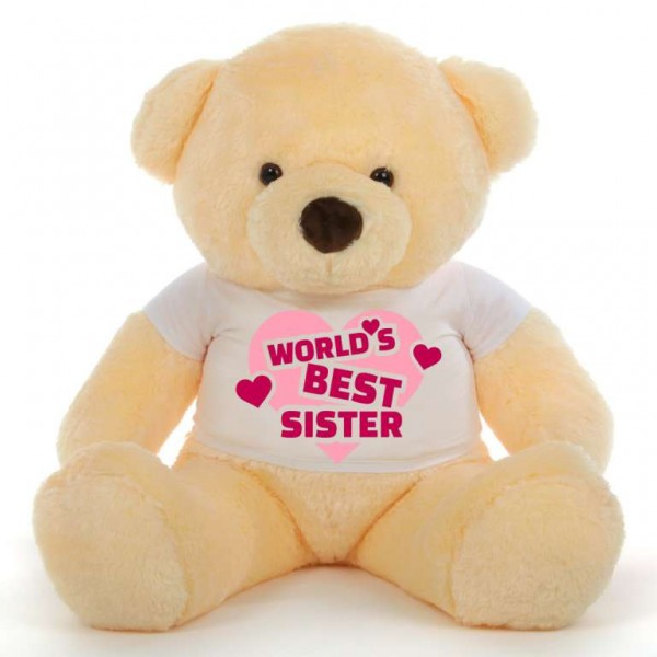 3.5 feet big peach fur face teddy bear wearing Worlds Best Sister T-shirt