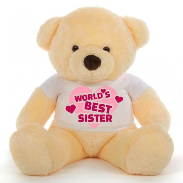 3.5 feet big peach fur face teddy bear wearing Worlds Best Sister T-shirt