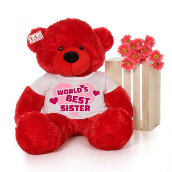 4 feet big red teddy bear wearing Worlds Best Sister T-shirt