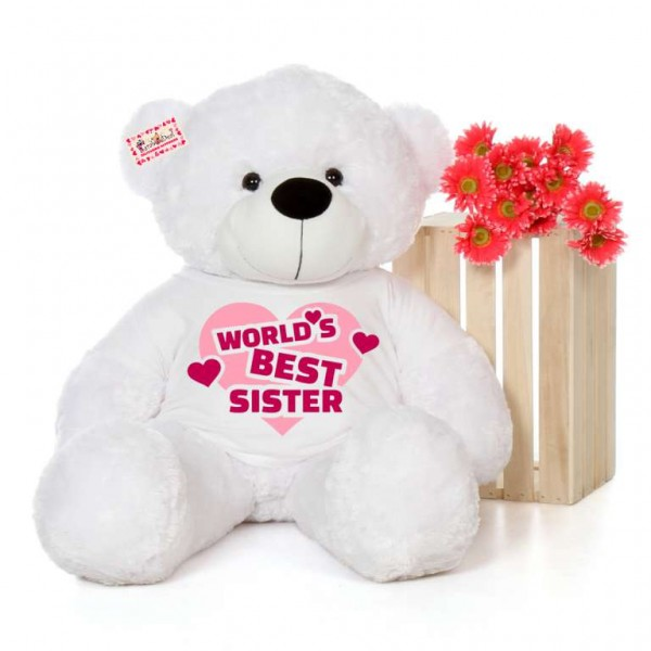 4 feet big white teddy bear wearing Worlds Best Sister T-shirt